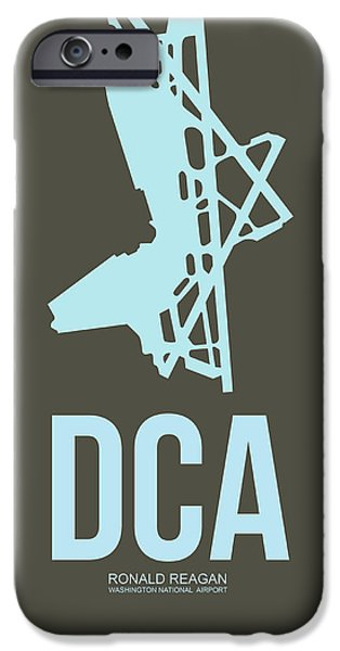 Cities Mixed Media iPhone Cases - DCA Washington Airport Poster 1 iPhone Case by Naxart Studio