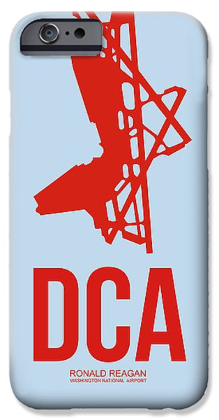 Towns Digital Art iPhone Cases - DCA Washington Airport Poster 2 iPhone Case by Naxart Studio
