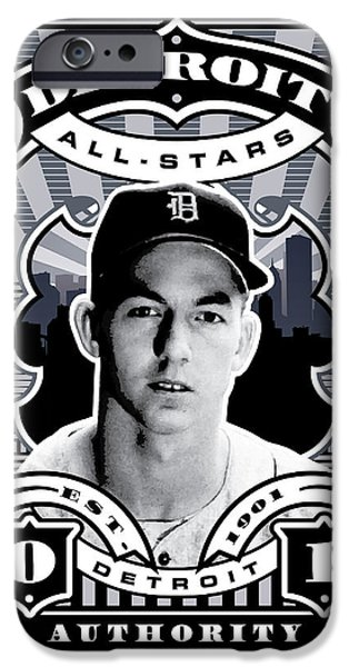 DCLA Al Kaline Detroit All-Stars Finest Stamp Art iPhone Case by David Cook Los Angeles
