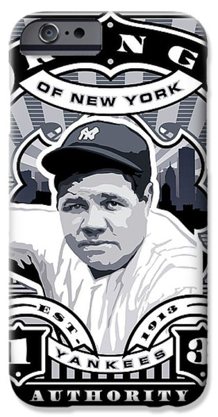 Joe Dimaggio Baseball Statistics iPhone Cases - DCLA Babe Ruth Kings Of New York Stamp Artwork iPhone Case by David Cook Los Angeles