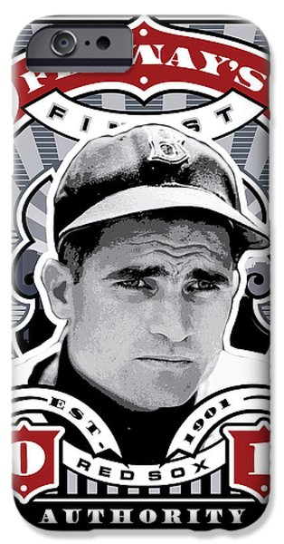 Williams Ted iPhone Cases - DCLA Bobby Doerr Fenways Finest Stamp Art iPhone Case by David Cook Los Angeles