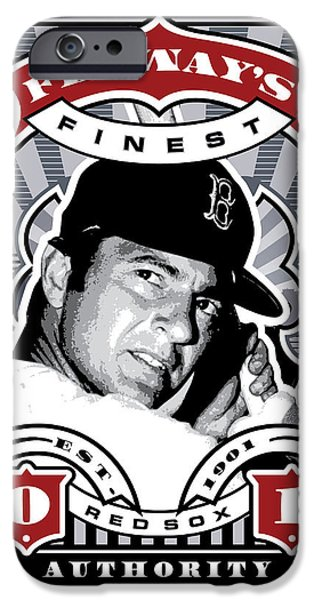 Williams Ted iPhone Cases - DCLA Carl Yastrzemski Fenways Finest Stamp Art iPhone Case by David Cook Los Angeles