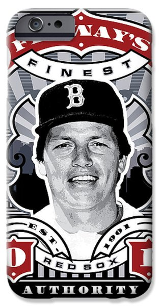 Red Sox Red Sox iPhone Cases - DCLA Carlton Fisk Fenways Finest Stamp Art iPhone Case by David Cook Los Angeles