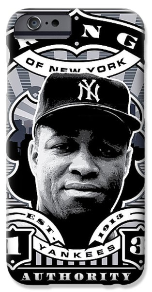 Joe Dimaggio Baseball Statistics iPhone Cases - DCLA Elston Howard Kings Of New York Stamp Artwork iPhone Case by David Cook Los Angeles