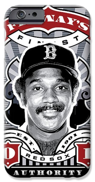 Red Sox Red Sox iPhone Cases - DCLA Jim Rice Fenways Finest Stamp Art iPhone Case by David Cook Los Angeles