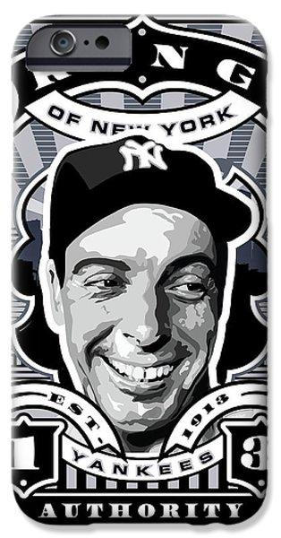 Joe Dimaggio Baseball Statistics iPhone Cases - DCLA Joe DiMaggio Kings Of New York Stamp Artwork iPhone Case by David Cook Los Angeles