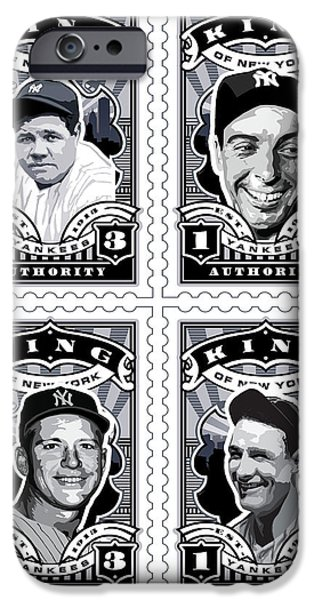 Joe Dimaggio Baseball Statistics iPhone Cases - DCLA Kings Of New York Combo Stamp Artwork 1 iPhone Case by David Cook Los Angeles