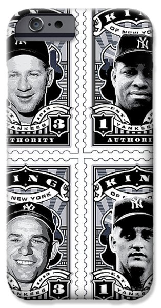 Joe Dimaggio Baseball Statistics iPhone Cases - DCLA Kings Of New York Combo Stamp Artwork 2 iPhone Case by David Cook Los Angeles