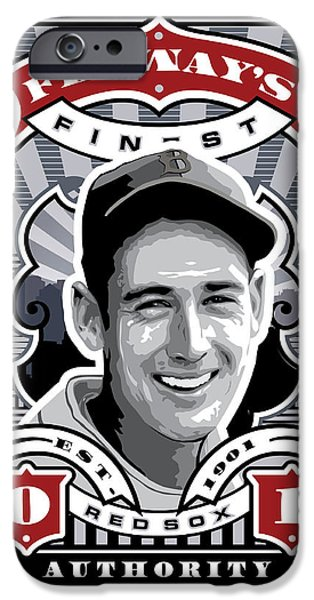 Red Sox Red Sox iPhone Cases - DCLA Ted Williams Fenways Finest Stamp Art iPhone Case by David Cook Los Angeles