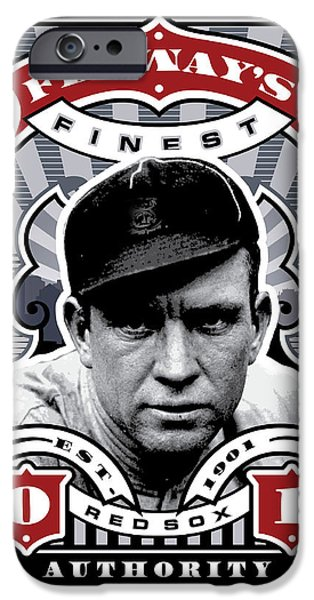 Red Sox Red Sox iPhone Cases - DCLA Tris Speaker Fenways Finest Stamp Art iPhone Case by David Cook Los Angeles