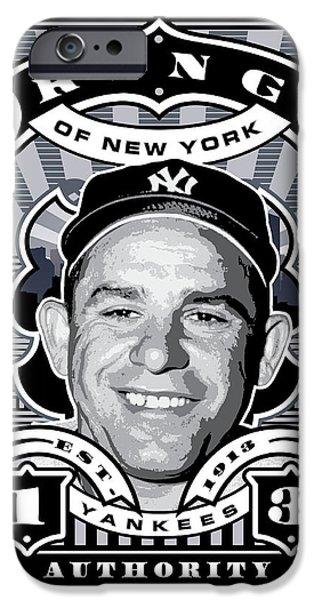 Joe Dimaggio Baseball Statistics iPhone Cases - DCLA Yogi Berra Kings Of New York Stamp Artwork iPhone Case by David Cook Los Angeles