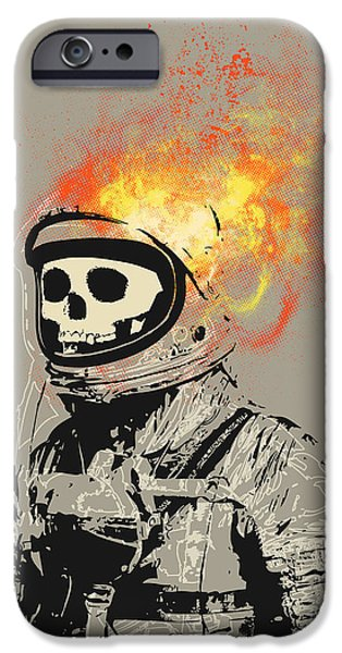 Fire Digital Art iPhone Cases - Dead Astronaut iPhone Case by Budi Satria Kwan