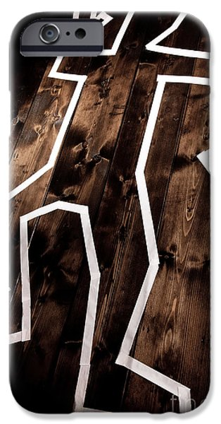 Death Proof iPhone Cases - Dead man outline on floor iPhone Case by Simon Bratt Photography LRPS
