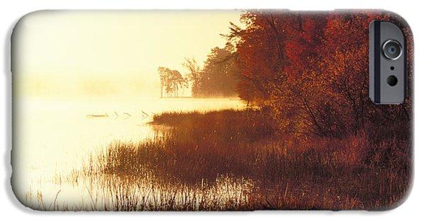 Indiana Autumn iPhone Cases - Deam Lake Sunrise - FS000480a iPhone Case by Daniel Dempster