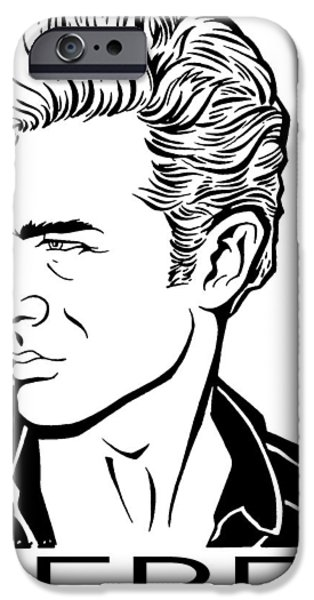 1950s Movies Drawings iPhone Cases - Dean iPhone Case by Ben De Soto