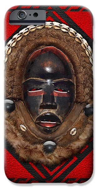 Dean Gle Mask by Dan People of the Ivory Coast and Liberia on Red Leather iPhone Case by Serge Averbukh