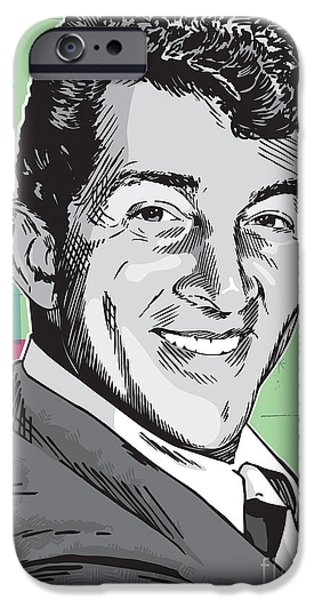 Moon iPhone Cases - Dean Martin Pop Art iPhone Case by Jim Zahniser