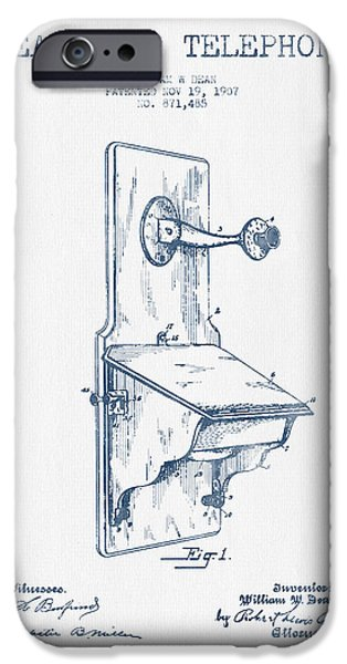Telephone iPhone Cases - Dean Wall Telephone Patent Drawing From 1907 - Blue Ink iPhone Case by Aged Pixel