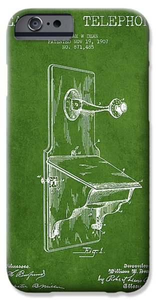 Calling iPhone Cases - Dean Wall Telephone Patent Drawing From 1907 - Green iPhone Case by Aged Pixel