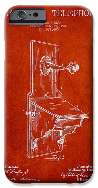 Calling iPhone Cases - Dean Wall Telephone Patent Drawing From 1907 - Red iPhone Case by Aged Pixel
