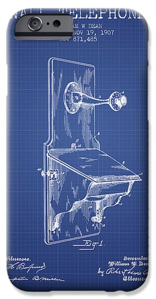 Telephone iPhone Cases - Dean Wall Telephone Patent From 1907 - Blueprint iPhone Case by Aged Pixel