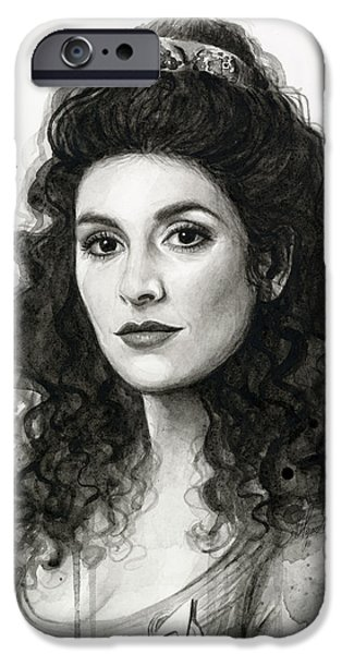 Science Fiction Paintings iPhone Cases - Deanna Troi - Star Trek Fan Art iPhone Case by Olga Shvartsur