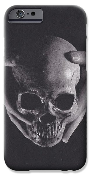 Skeleton Drawings iPhone Cases - Death in His Hands iPhone Case by Brittni DeWeese