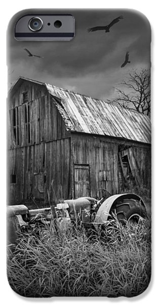Machinery iPhone Cases - Death of a Midwest Farm iPhone Case by Randall Nyhof