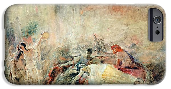 Infamous iPhone Cases - Death Of Claudius Caesar Nero Ad 37-68 Oil On Canvas iPhone Case by Konstantin Egorovich Makovsky