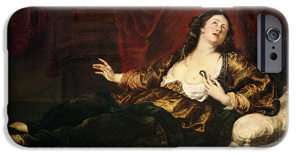Serpent Photographs iPhone Cases - Death Of Cleopatra Vii 69-30 Bc Oil On Canvas iPhone Case by Sir Anthony van Dyck