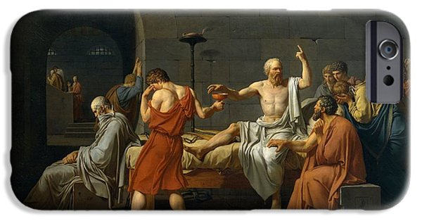 Patriotism Paintings iPhone Cases - Death of Socrates iPhone Case by Jacques Louis David