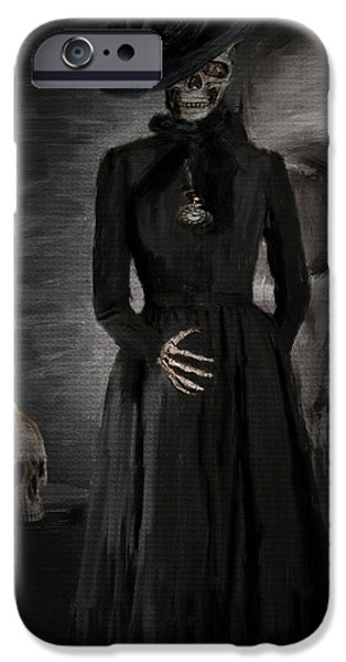 Macabre iPhone Cases - Deathly Grace iPhone Case by Lourry Legarde