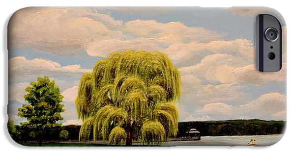 Willow Lake Paintings iPhone Cases - Deauville Island on Owasco Lake NY iPhone Case by Carolyn Freligh
