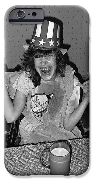 Debbie C. celebrating July 4th Lincoln Gardens Tucson Arizona 1990 iPhone Case by David Lee Guss