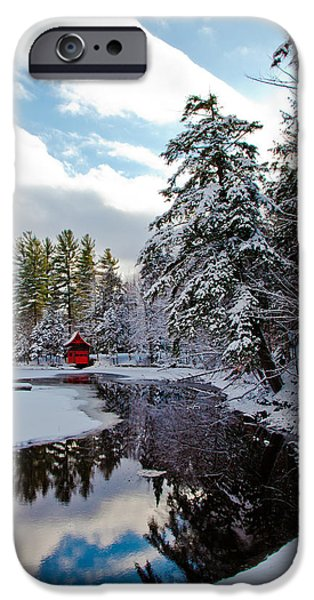 Snow Scene iPhone Cases - December Afternoon at the Red Boathouse iPhone Case by David Patterson