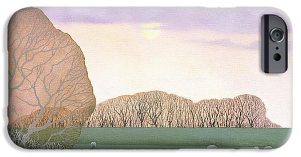 Sheep Grazing iPhone Cases - December Dusk, 2008 Oil On Canvas iPhone Case by Ann Brain