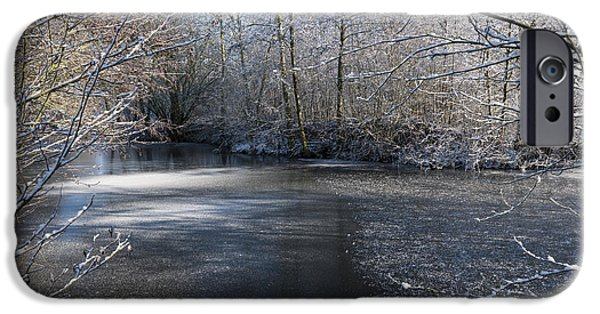 Snowy Stream iPhone Cases - December Lake iPhone Case by Svetlana Sewell