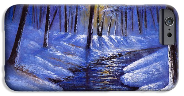 Bob Ross Paintings iPhone Cases - December Sunrays iPhone Case by C Steele