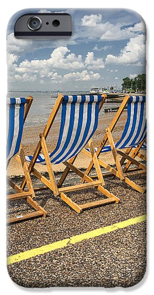 Deckchairs at Southend iPhone Case by Sheila Smart