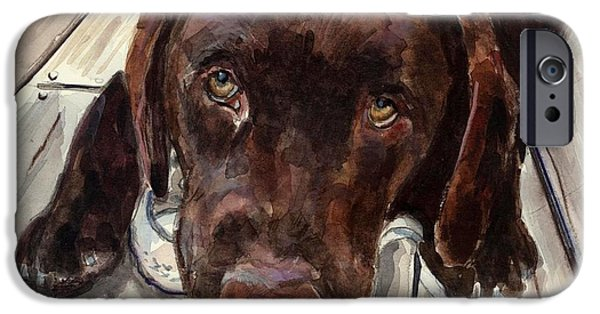 Chocolate Lab iPhone Cases - Deckhand iPhone Case by Molly Poole