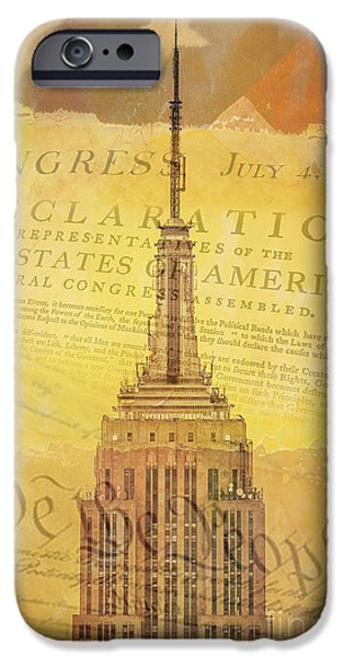 Empire State Digital iPhone Cases - Liberation Nation iPhone Case by Az Jackson
