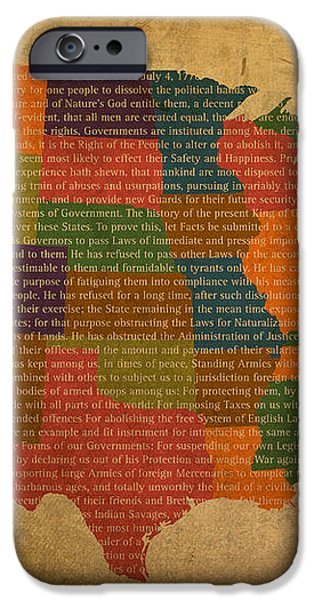 Declaration of Independence Word Map of The United States of America iPhone Case by Design Turnpike