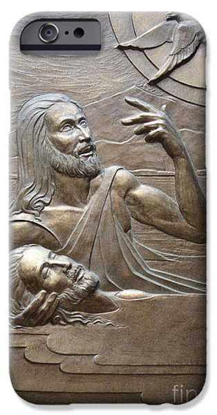 Religious Reliefs iPhone Cases - Deco Baptism iPhone Case by Jeremiah Welsh