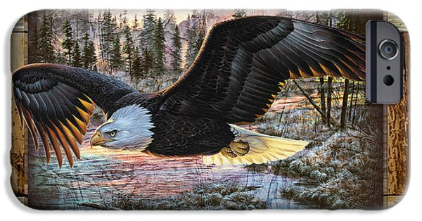 Eagle Paintings iPhone Cases - Deco Eagle iPhone Case by JQ Licensing