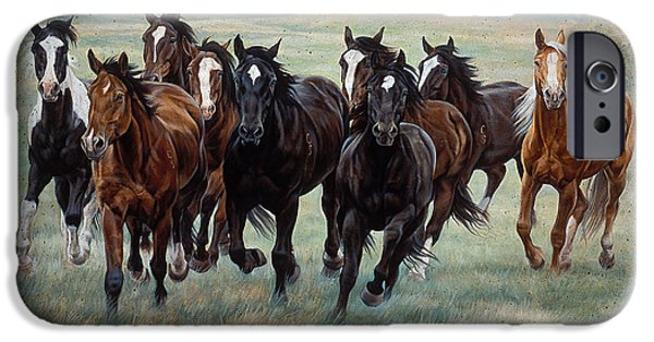 Barns Paintings iPhone Cases - Deco Horses iPhone Case by JQ Licensing