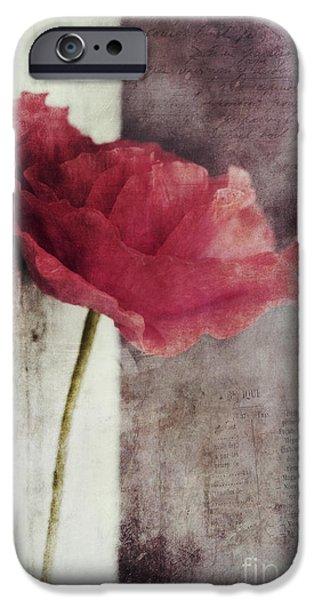 Pinkish iPhone Cases - Decor Poppy iPhone Case by Priska Wettstein