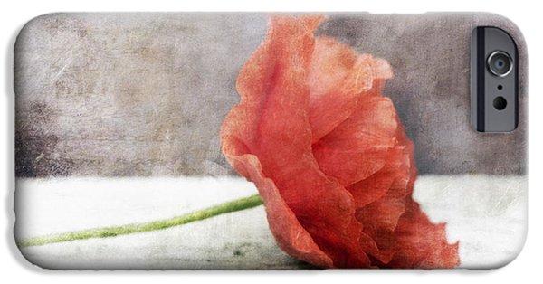 Pinkish iPhone Cases - Decor Poppy Red iPhone Case by Priska Wettstein