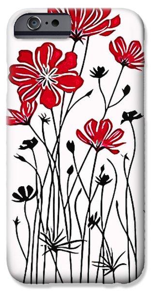 Vinil iPhone Cases - Decoracion de Flores iPhone Case by Riccardo Zullian