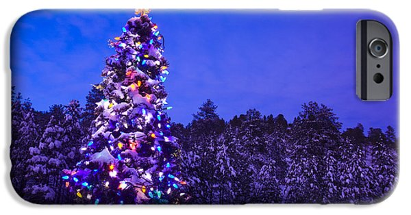 Snowy Night iPhone Cases - Decorated & Lit Christmas Tree In A iPhone Case by Michael DeYoung