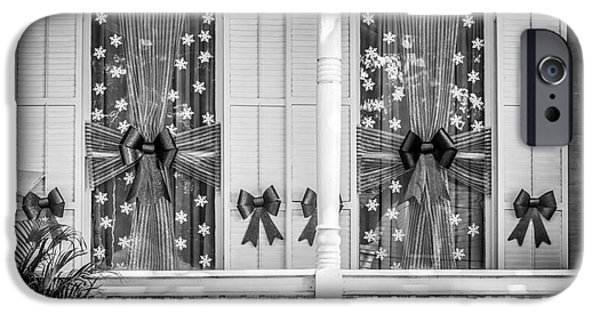 19th Century Photographs iPhone Cases - Decorated Christmas Windows Key West - Black and White iPhone Case by Ian Monk